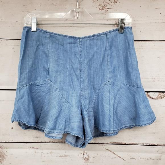 Guess Pants - Guess faux denim chambray flare shorts